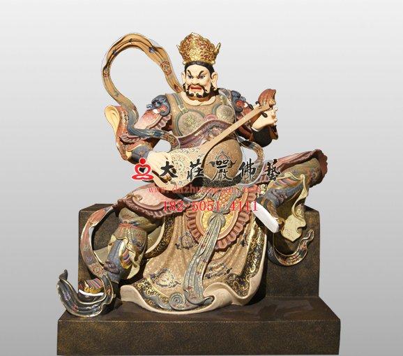 东方持国天王铜佛像 佛教护法神四大天王铜佛像