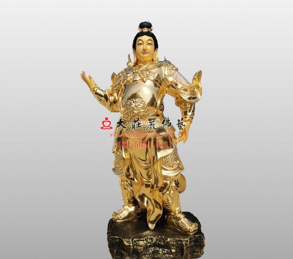 祇陀太子铜佛像 伽蓝菩萨大护法铜佛像定制