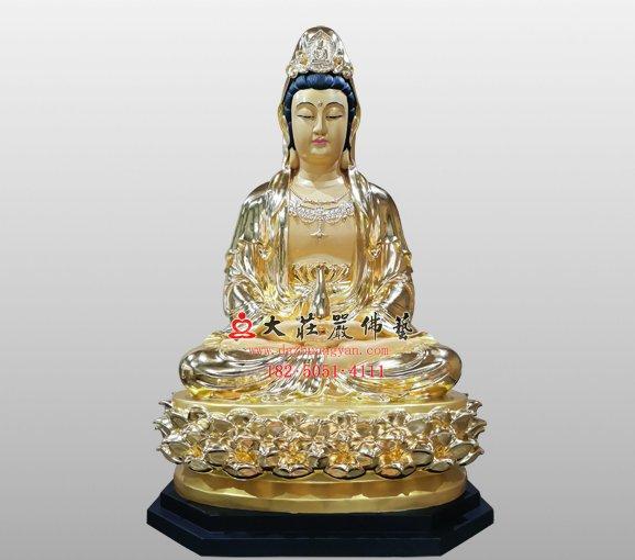 观世音菩萨铜佛像 观自在菩萨 西方三圣观音铜佛像