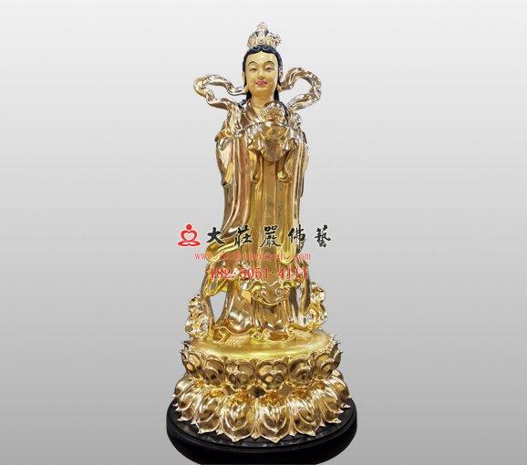 观音菩萨左胁待龙女塑像 龙女铜佛像 龙女铜佛像定制