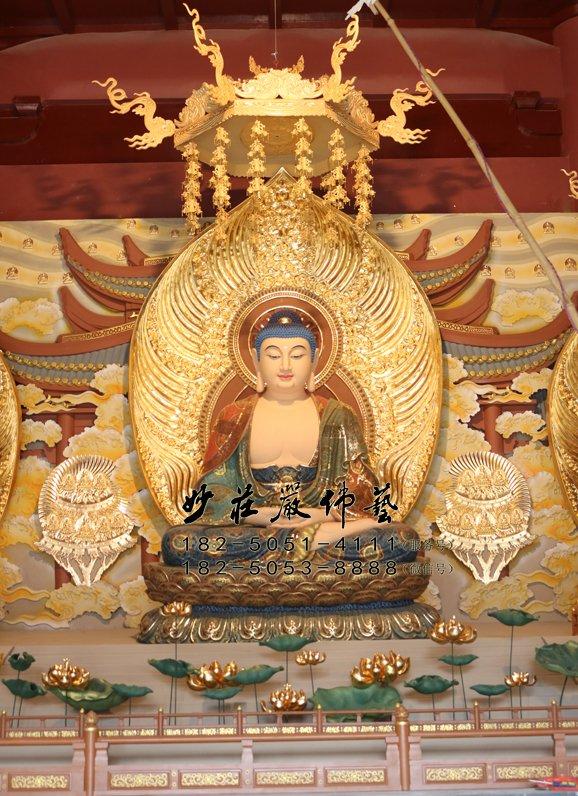 阿弥陀佛铜佛像 西方三圣无量光佛 无量寿佛雕塑 接引佛铜佛像