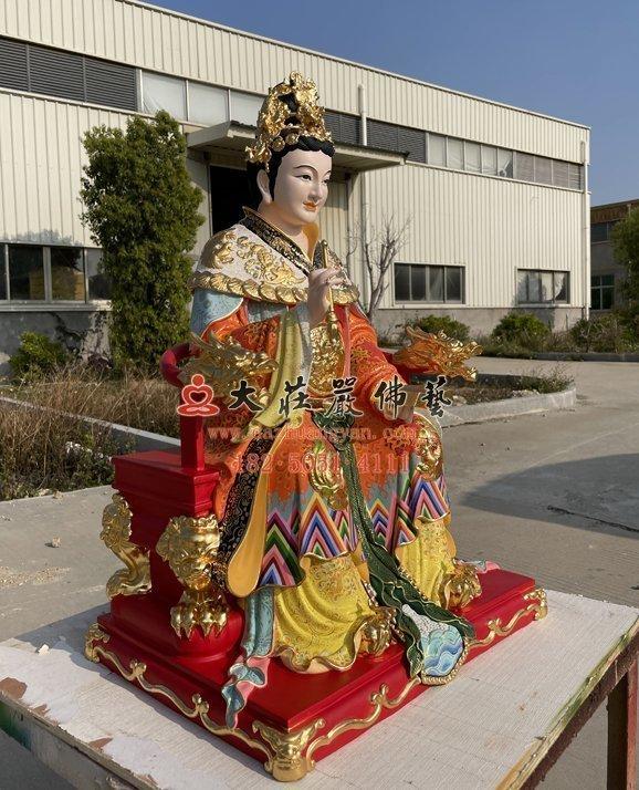 九天玄女弟子铜雕神像