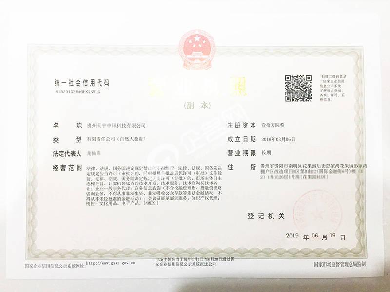 貴州XX科技有限公司-貴陽最新版營業執照