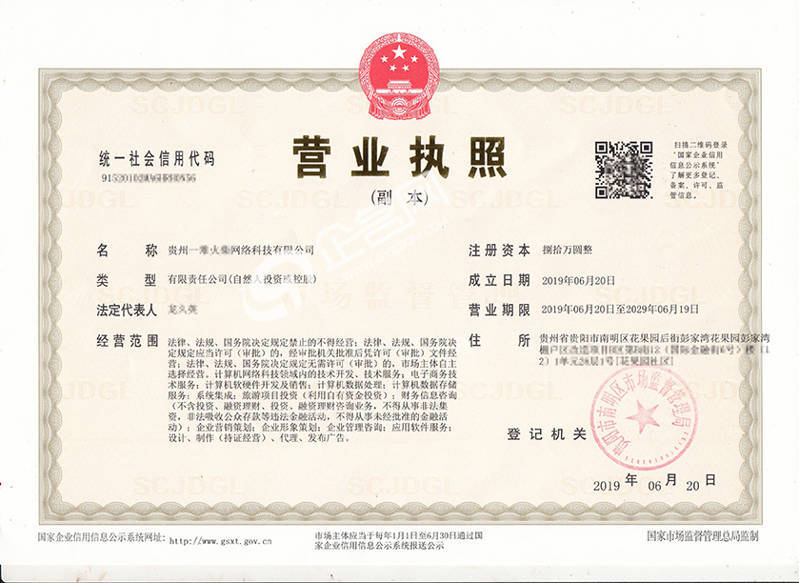 貴州XX網絡科技有限公司-貴陽2019年新版營業執照