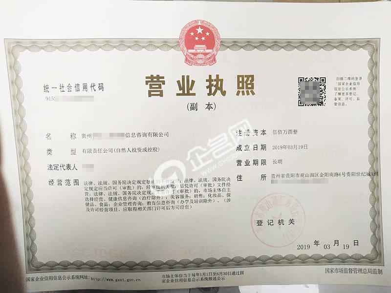貴州XX信息咨詢有限公司-貴州新版營業執照