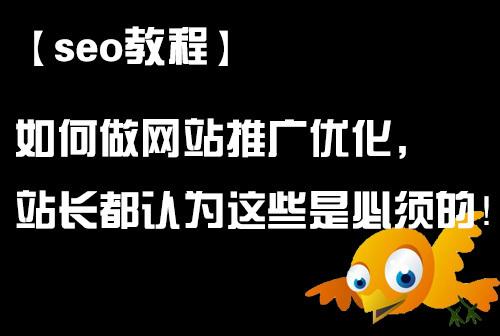 「seo教程」如何做网站推广优化,站长都认为这些是必须的!