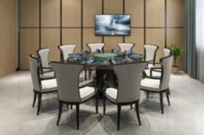 某礦自助餐廳定制實木餐桌椅案例展示
