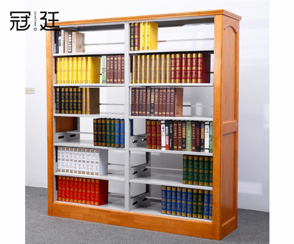 实木双柱双面书架