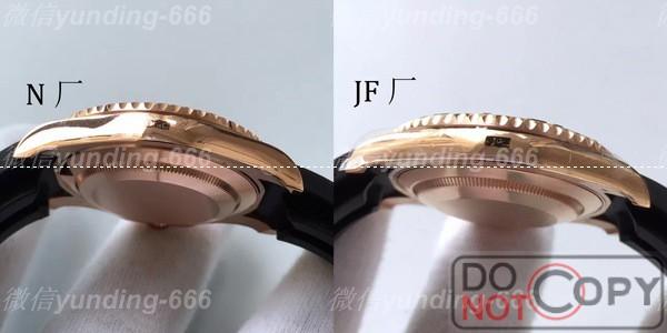 N厂对比JF厂劳力士金游艇名仕型116655细节对比评测
