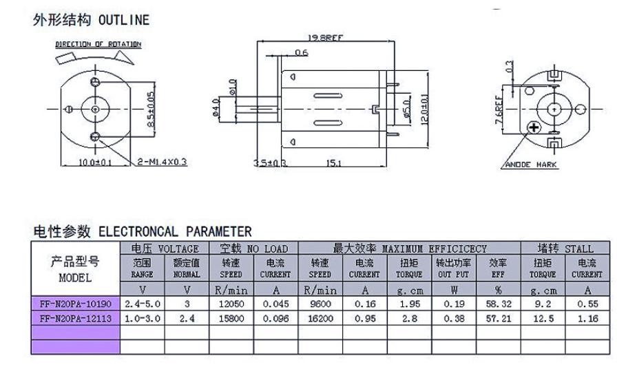 N20微型马达产品外形结构及性能参数