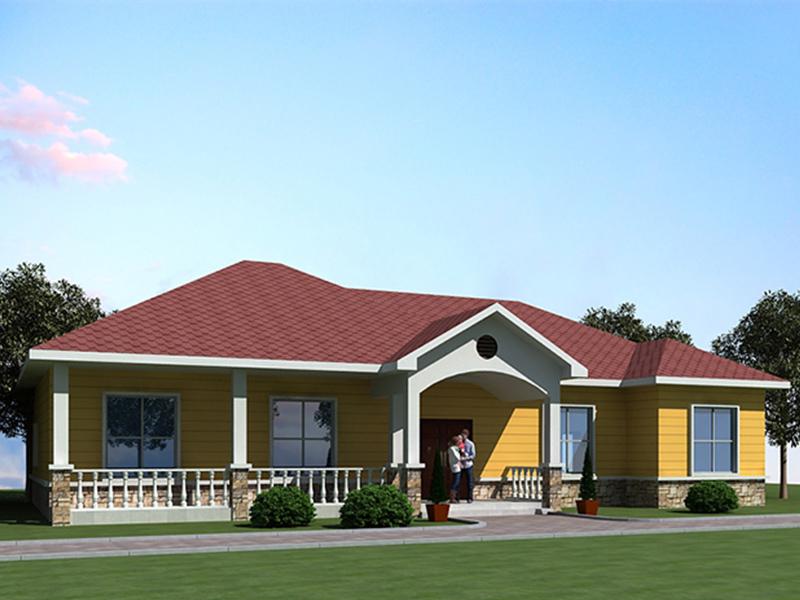 实用的农村一层轻钢房别墅户型