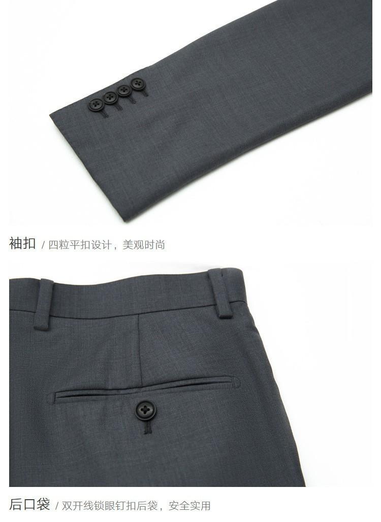 灰色平驳领商西服套装细节展示