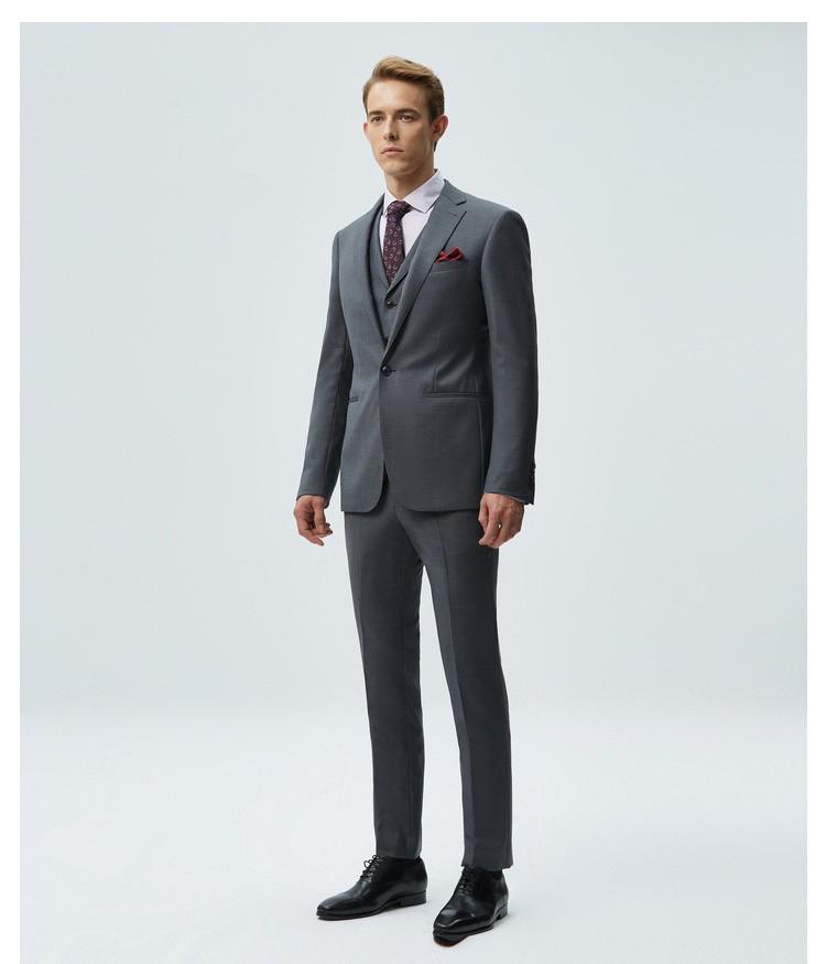 男士灰色平駁領商西服套裝