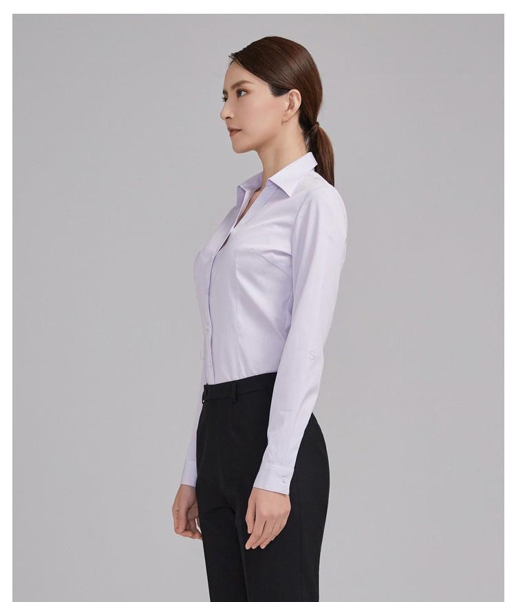 女士紫色條紋長袖襯衫側面圖