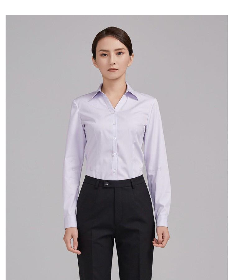 重慶女士紫色條紋長袖襯衫定制
