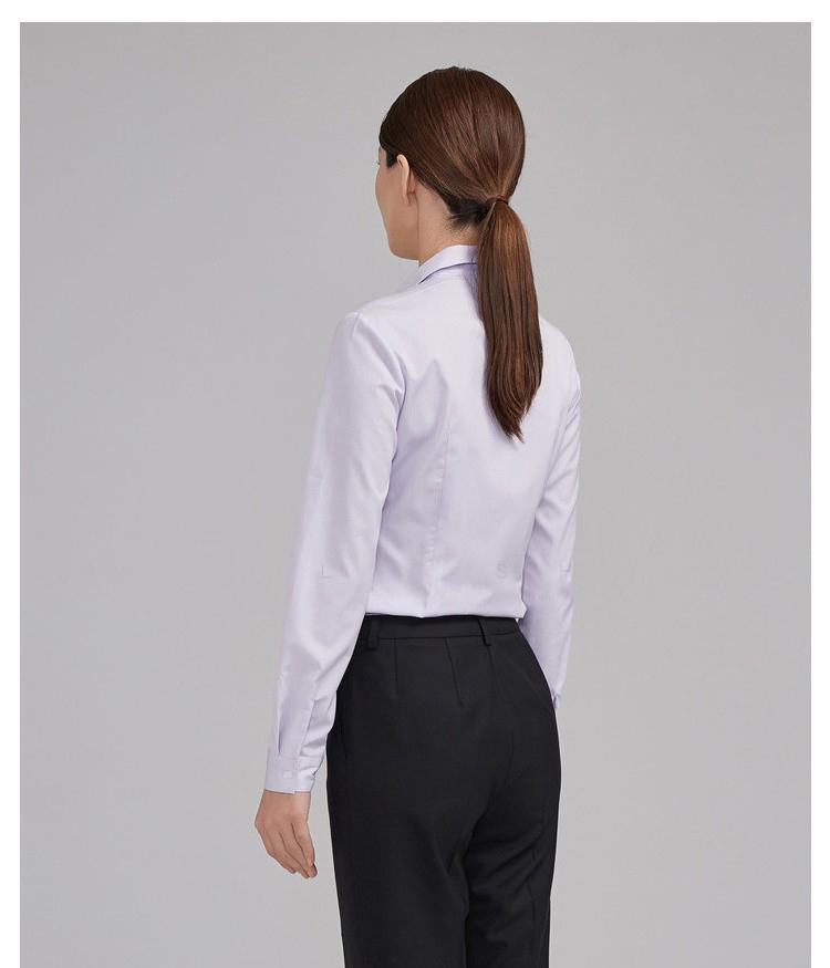 女士紫色條紋長袖襯衫背面圖