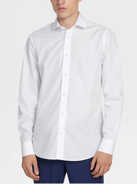 男士純棉白色商務襯衫
