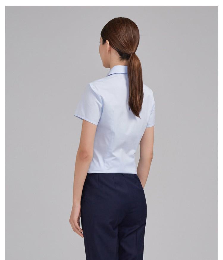 女士藍色短袖時尚款襯衫