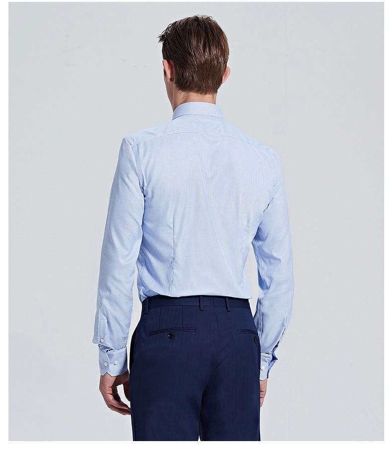 重庆淡蓝色经典商务方领衬衫定做