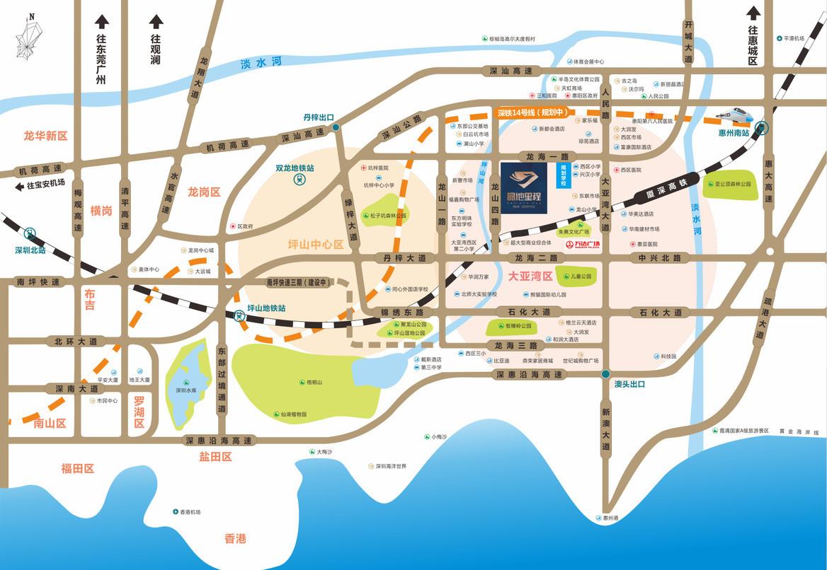 晶地里程位置和交通配套图
