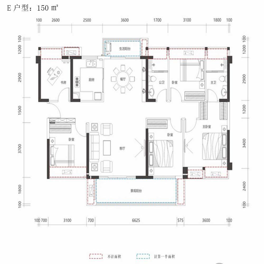 惠阳香树和园150平米户型图