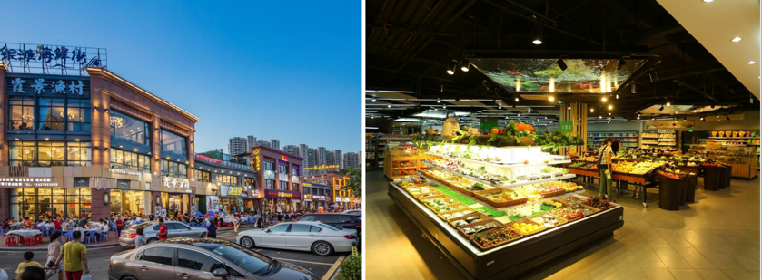 碧桂园十里银滩海鲜街和万田超市