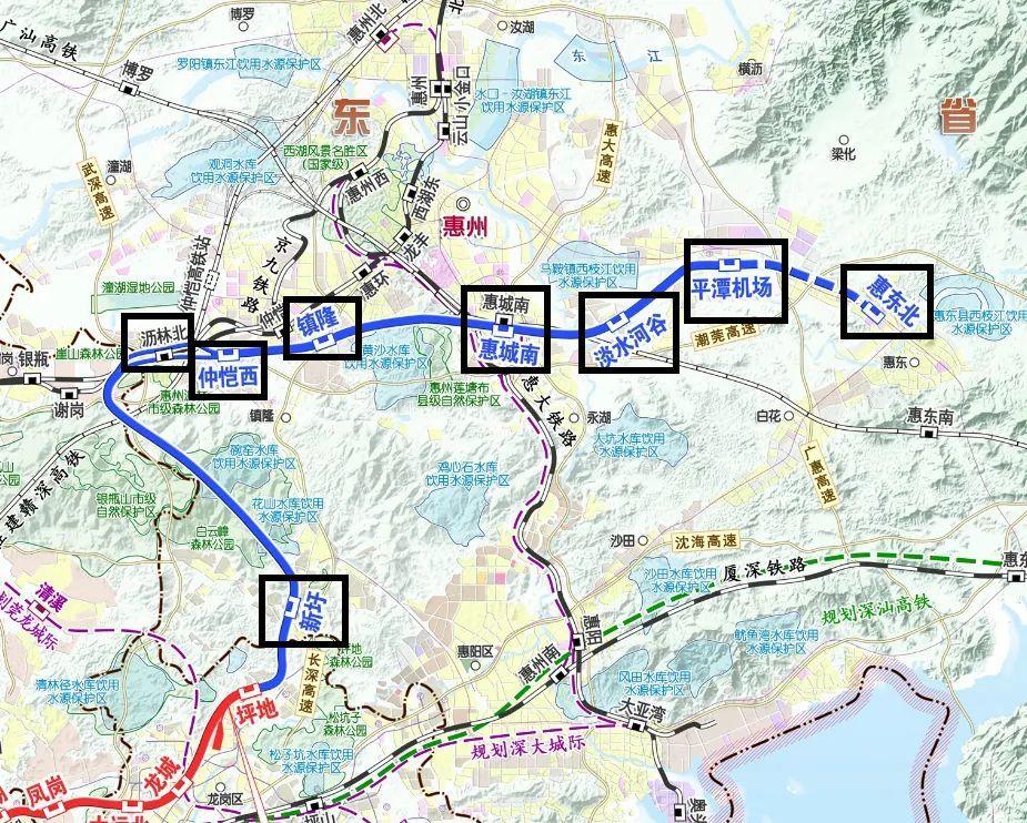 深惠城际轨道深圳段环评、惠州段的方案路线图