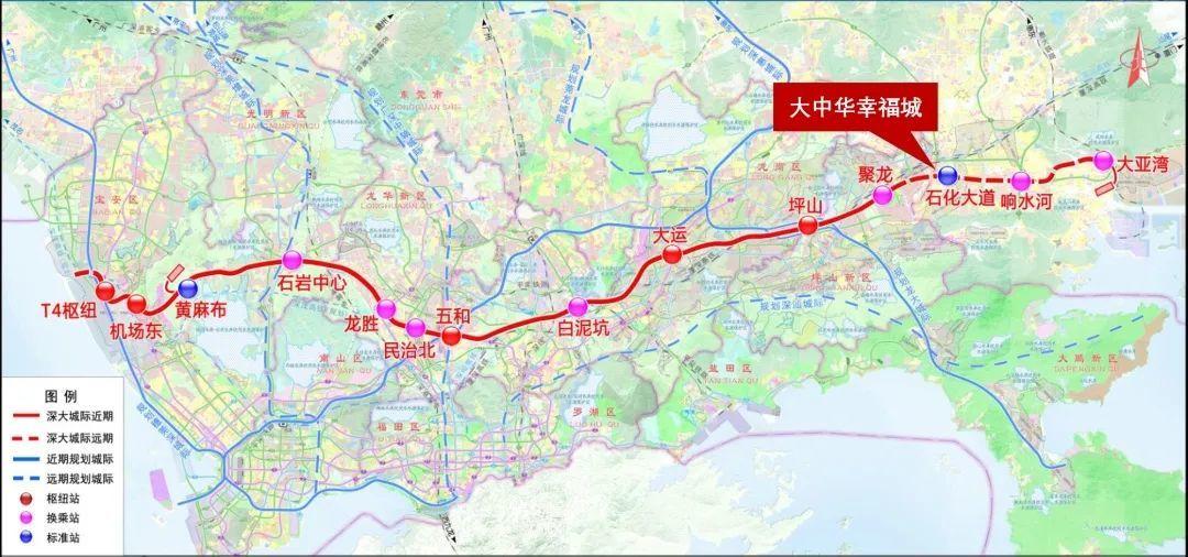 深圳机场至大亚湾城际平面示意图
