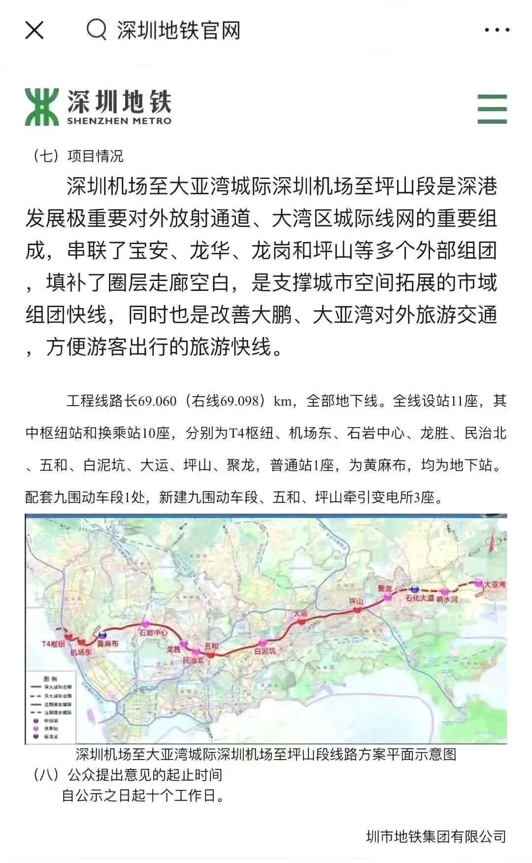 深大城轨线路地图