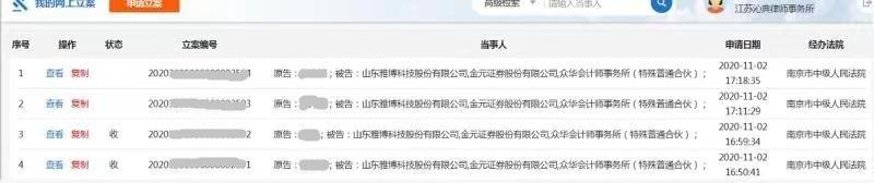 雅百特索赔案,南京谢保平律师团队:又提交一批投资者立案材料