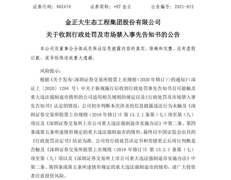 金正大生態工程集團股份有限公司關于收到行政處罰及市場禁入事先告知書的公告