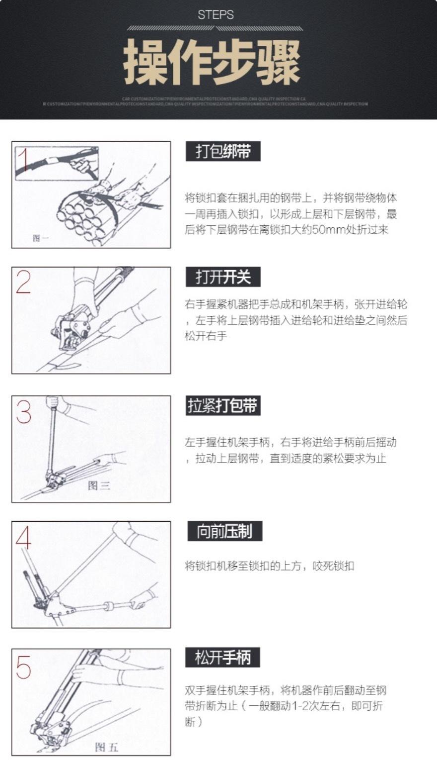 手動鋼帶打包機操作步驟