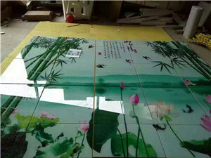 Flatbed printer tile background wall printing process and supporting equipment