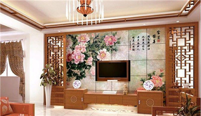 What equipment is used to make the TV background wall pattern