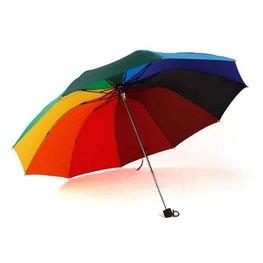 彩虹伞logo定制手动十骨三折伞礼品折叠广告伞超大晴雨伞批发