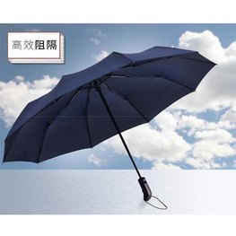 厂家定制 晴雨两用折叠自动伞黑胶自动晴雨伞轻便全自动三折伞