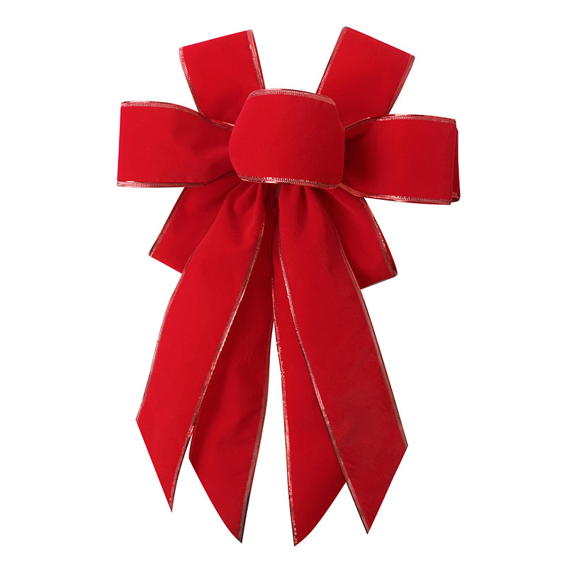 Wholesale Pre Made Red Velvet Ribbon Bow for Wreath Decoration