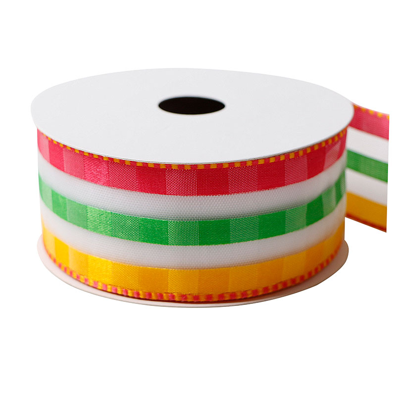 Multicolors Organza Ribbon Wired Organza Ribbon 1-1/2