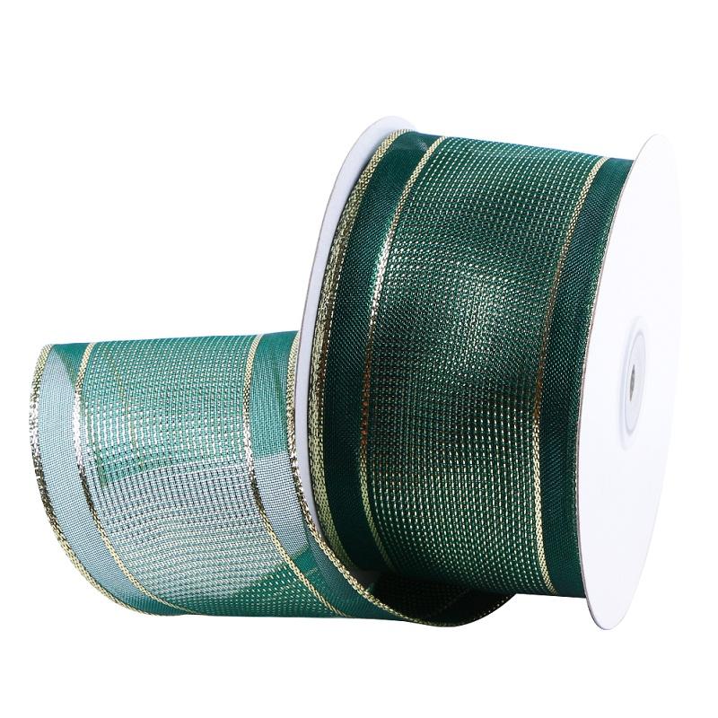 Green Organza Ribbon Wired Edge Organza Ribbon 63mm