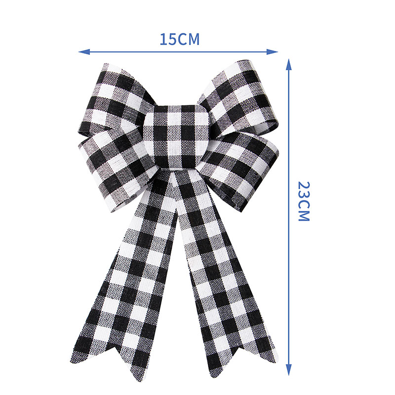 Large Christmas Bow Black and White Palid Ribbon Bow Christmas Decorative Bows