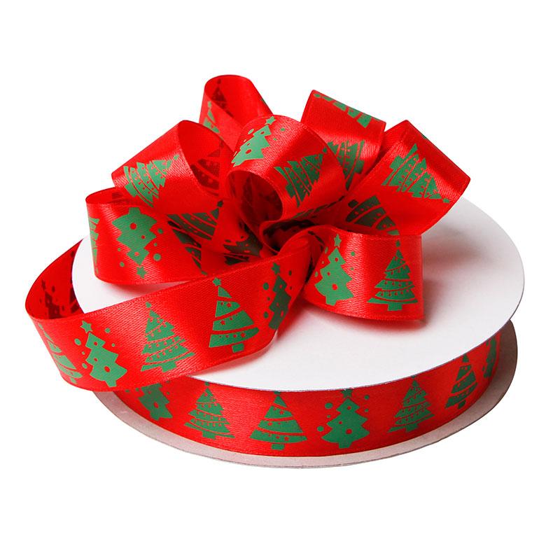 Red Satin Ribbon Merry Christmas Ribbon 25mm Satin Printed Ribbon