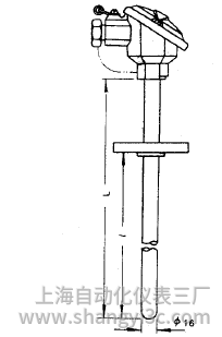 装配式热电偶固定法兰式安装图片及尺寸