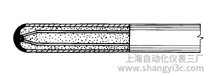 铠装热电偶测量端(热端)为接壳式的结构形式