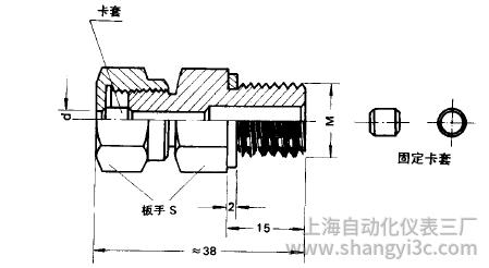 铠装热电偶固定卡套螺纹安装图片及尺寸