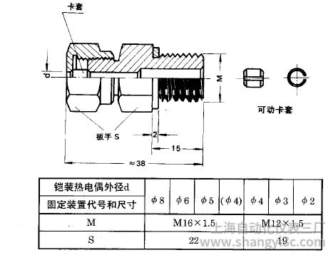 铠装热电偶活动卡套螺纹安装图片及尺寸