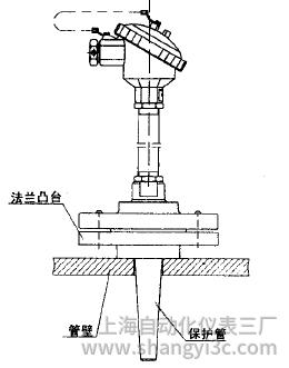 WRN,WRE-43C法兰套管式热电偶安装图片