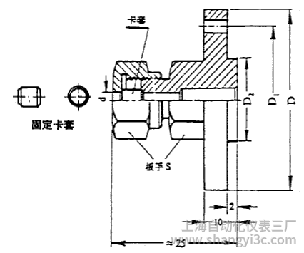 化工用热电偶、热电阻固定卡套法兰图片尺寸