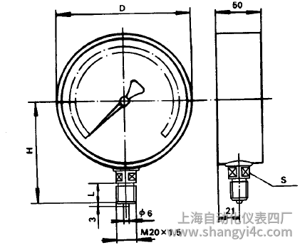YA-100氨用压力表(0-6MPa径向型)安装图片