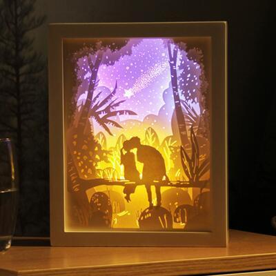 女友礼物:定制3D镂空光影纸雕灯