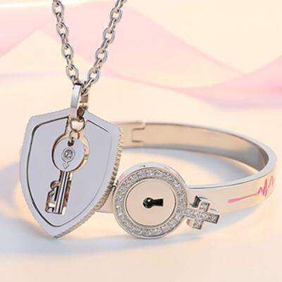 女友礼物:情侣同心锁手镯项链